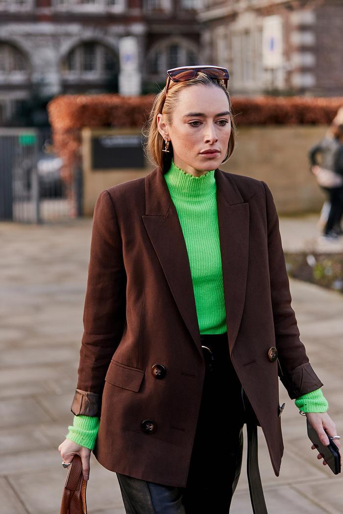 Long sleeve top trends: neon roll neck