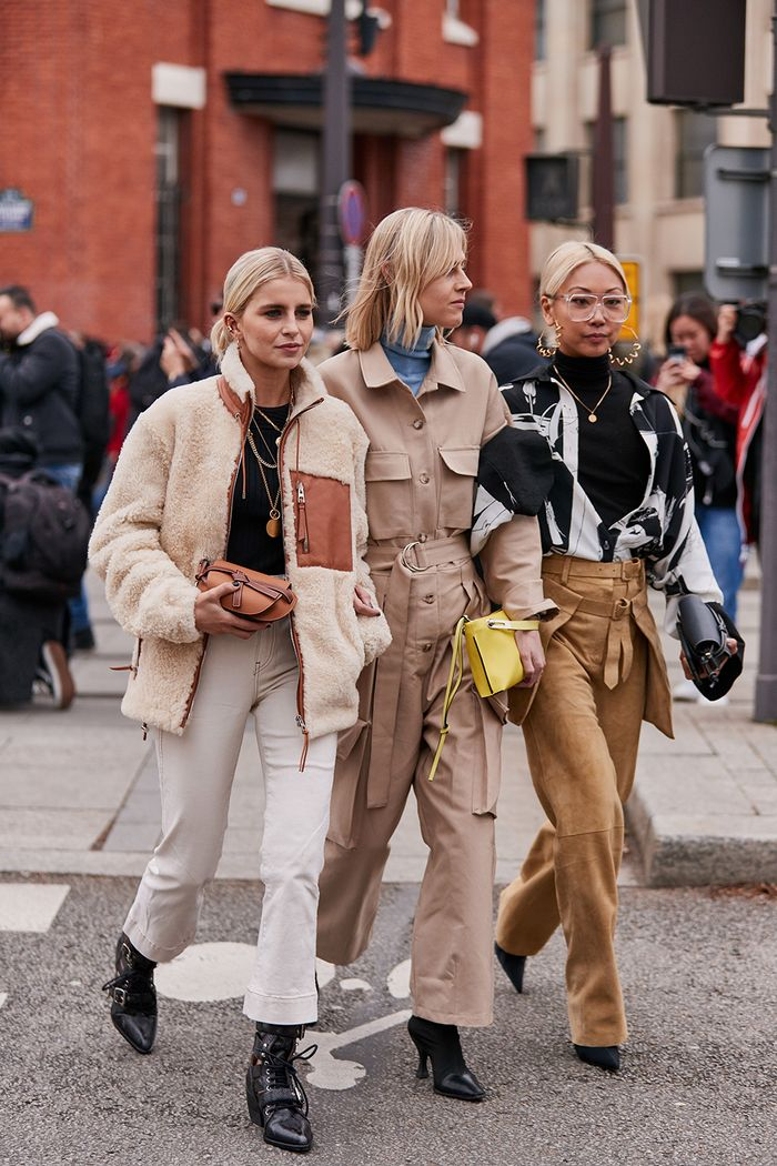 new brands 2019: including The Frankie Shop as seen her on Linda Tol wearing a beige utility jumpsuit