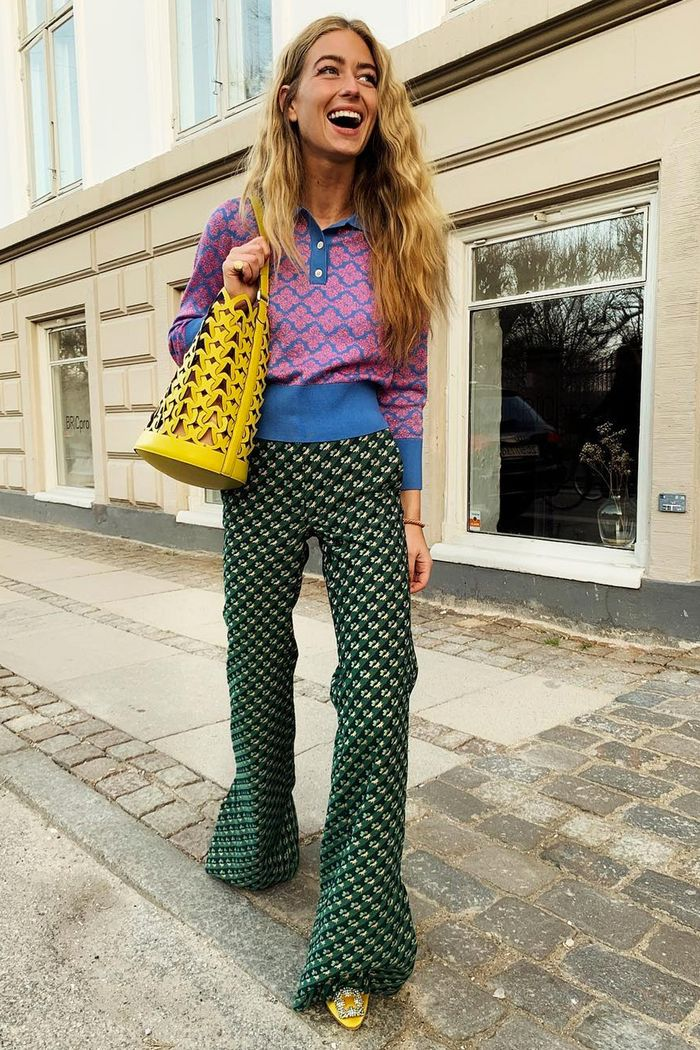 Fashion week Instagram outfits: Emili Sindlev in printed trousers