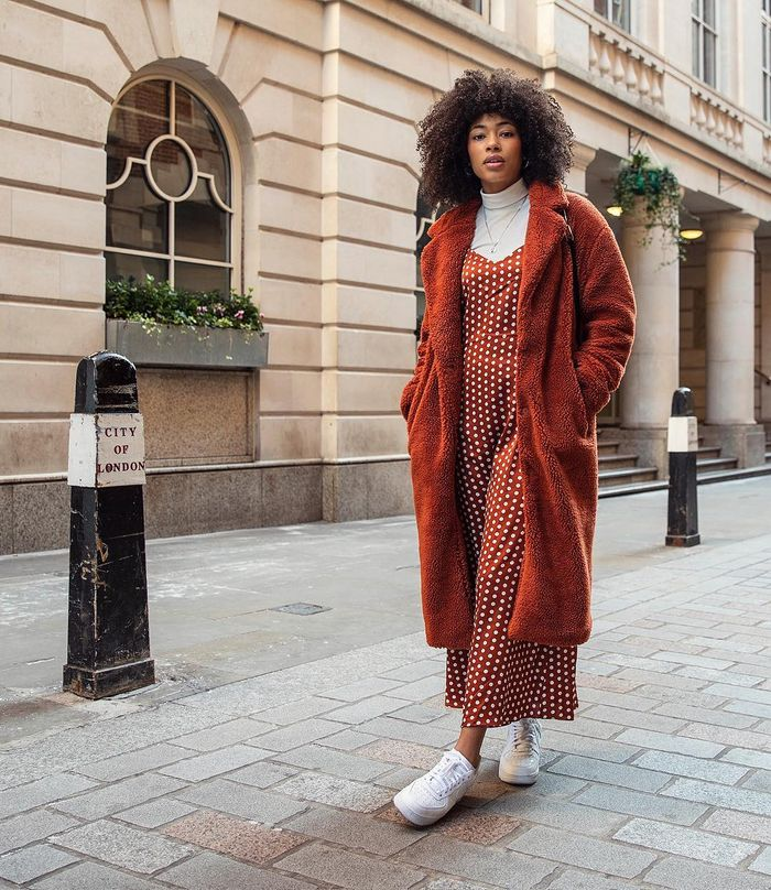 Best Affordable Hair Salons: ASOS Lesley wearing rust tonal outfit
