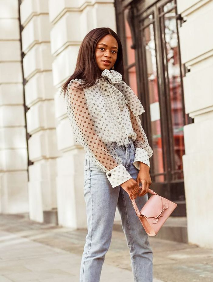 Inditex Fashion Brands: Eni in a sheer polka dot blouse from Zara