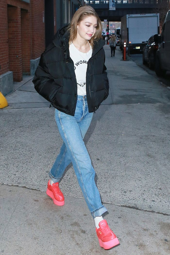 Gigi Hadid platform sneakers