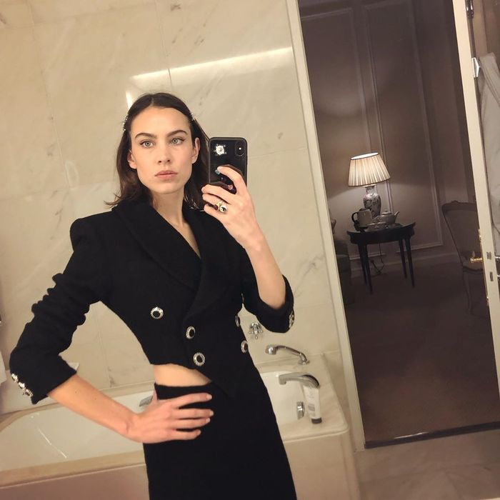Augustinus Bader Moisturiser: Alexa Chung wearing all-black outfit