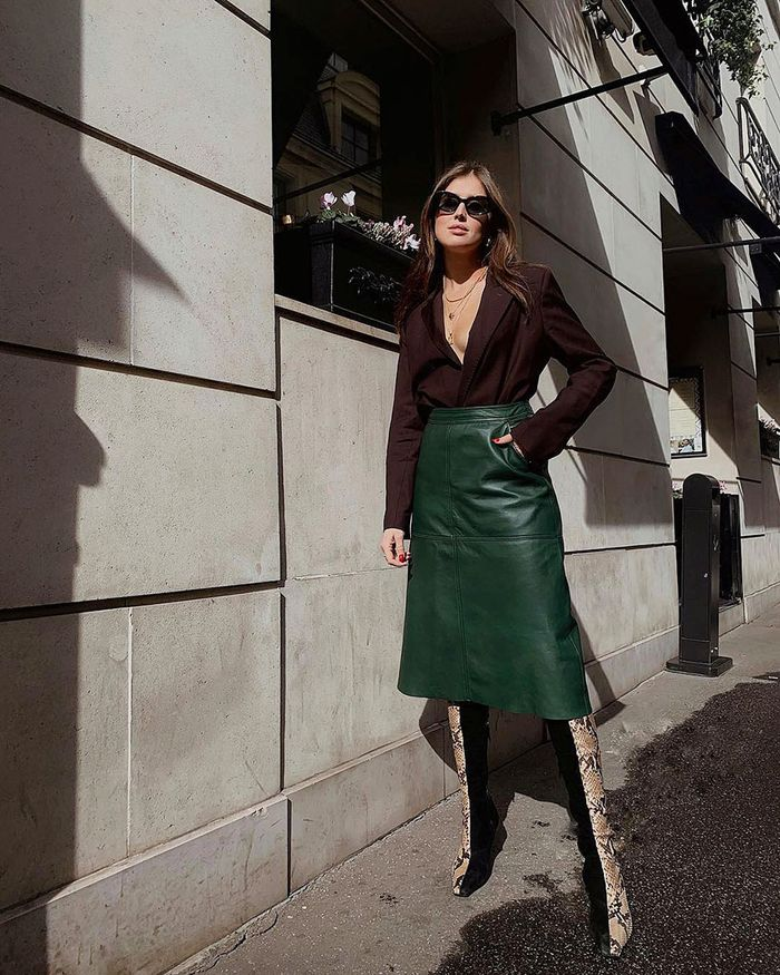 Spring 2019 trend: leather skirt