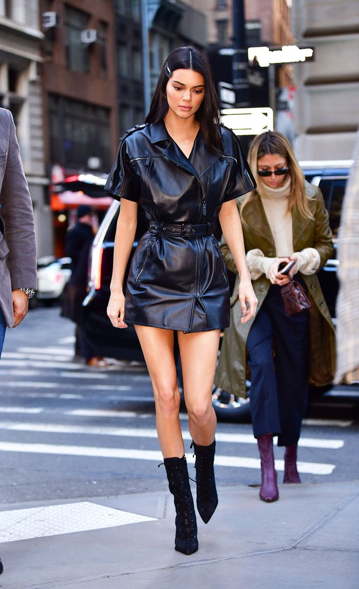 Kendall Jenner in a leather dress