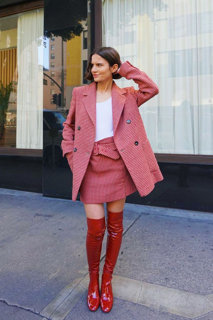 Mango checked suit: Marta Cygan