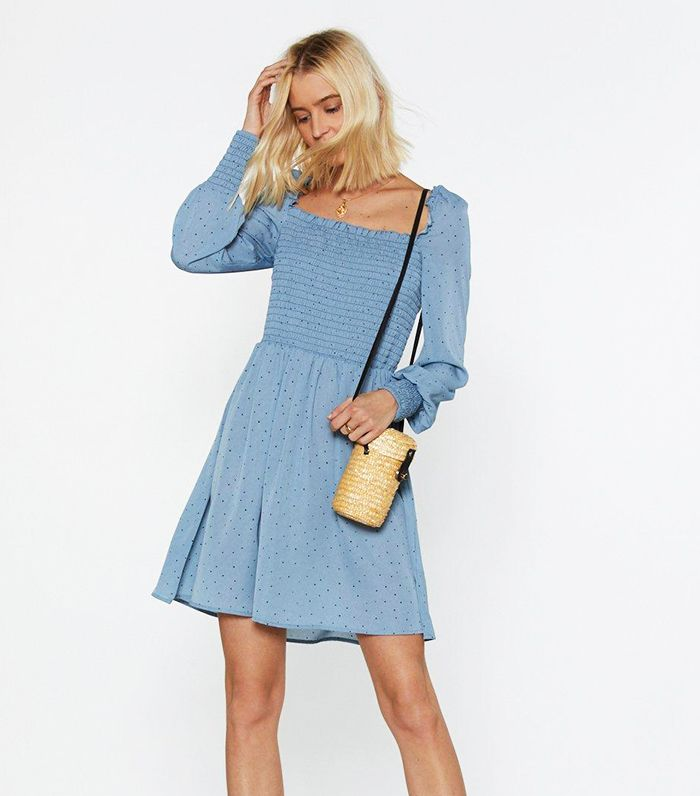 Nasty Gal Dot If I Can Help It Spotty Shirred Dress