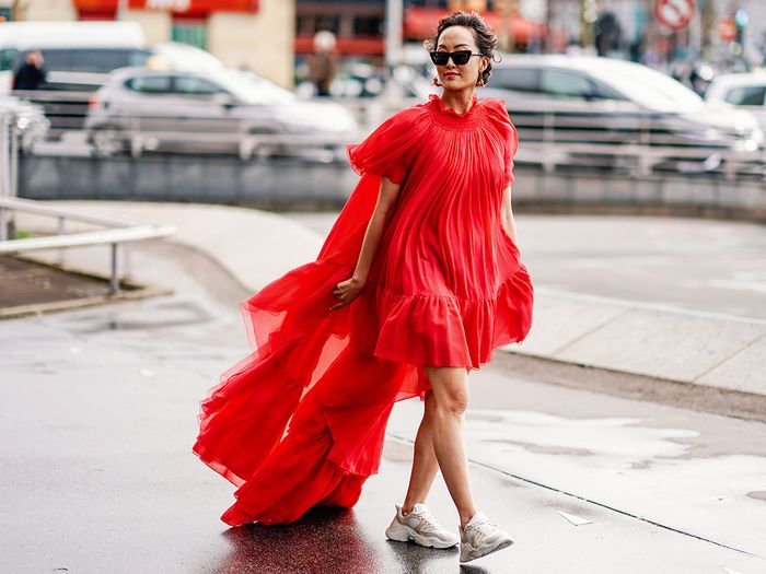 Chriselle Lim Dress and Sneakers Street Style