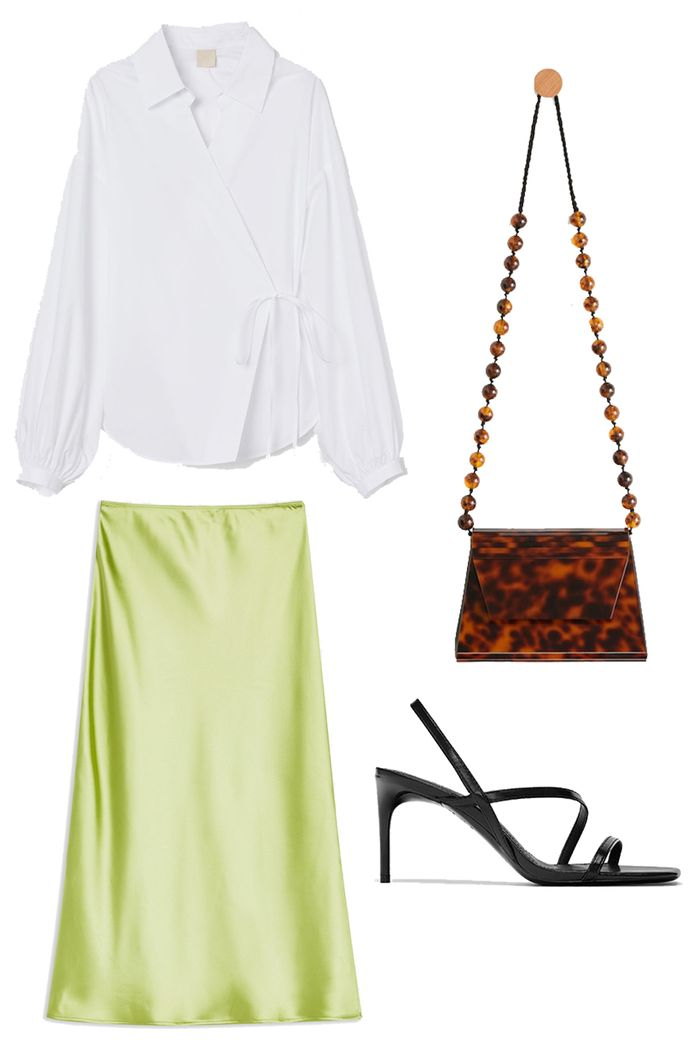 Summer party outfits: slip skirt and shirt