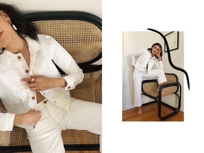 all white denim look