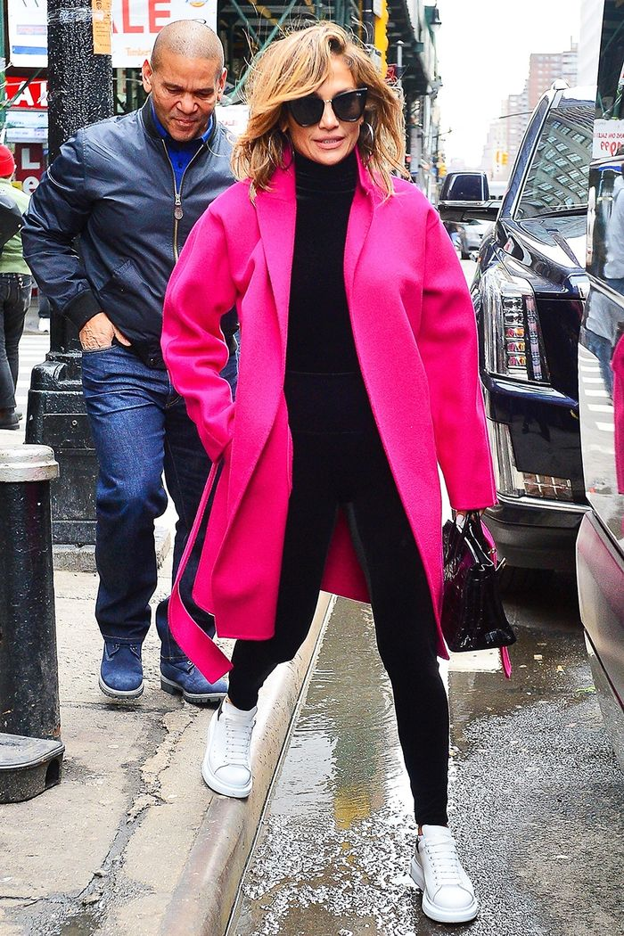 Jennifer Lopez wearing hot pink