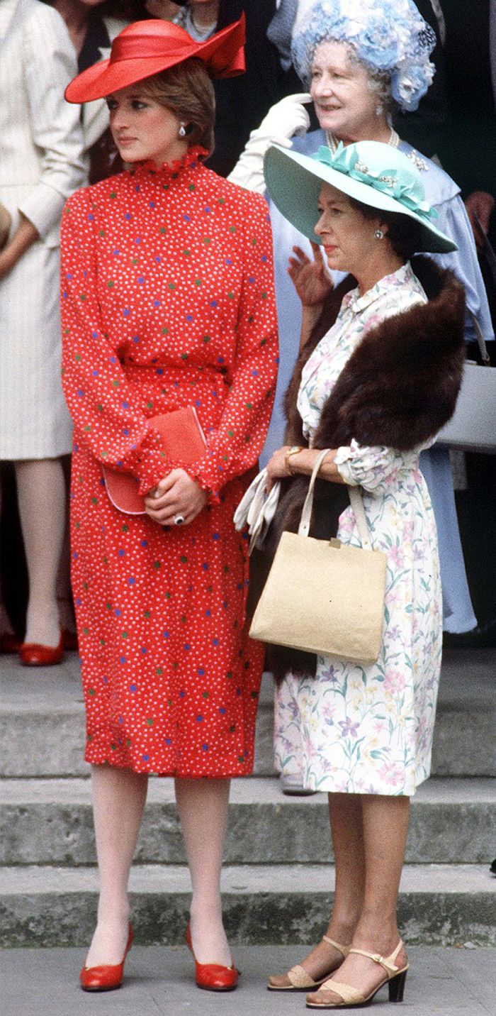 Can you wear red to a wedding: Princess Diana in a red printed wedding guest dress in 1981