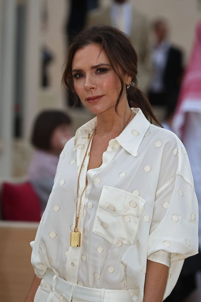 Victoria Beckham Toothpaste: VB in neutral polka dot shirt