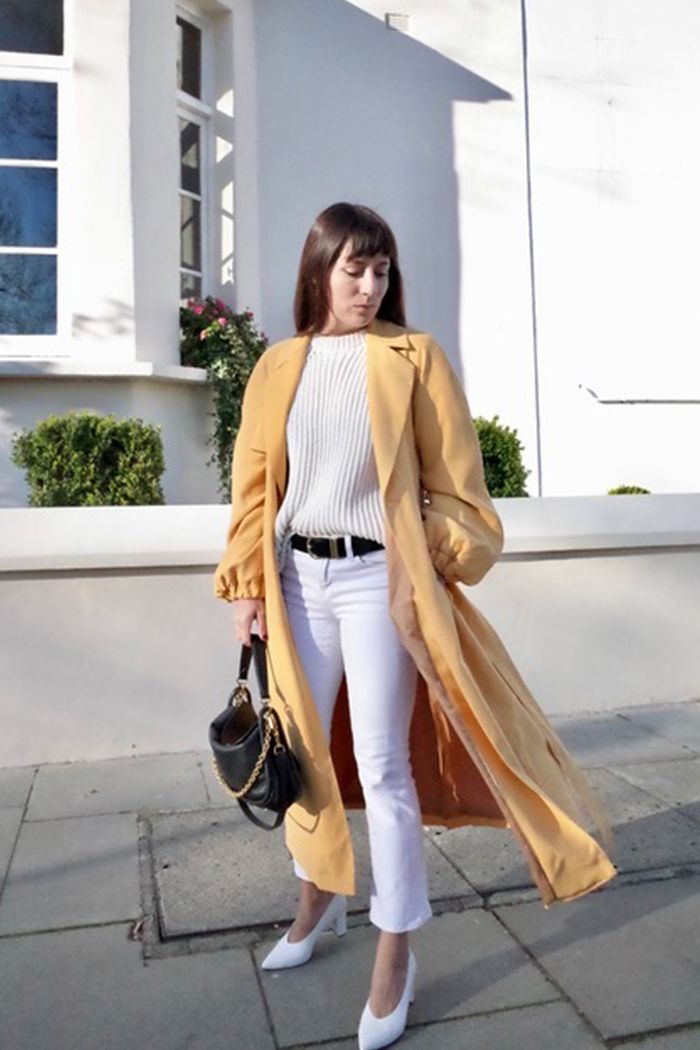 John Lewis fashion items 2019: Katherine Ormerod wearing a yellow trench coat