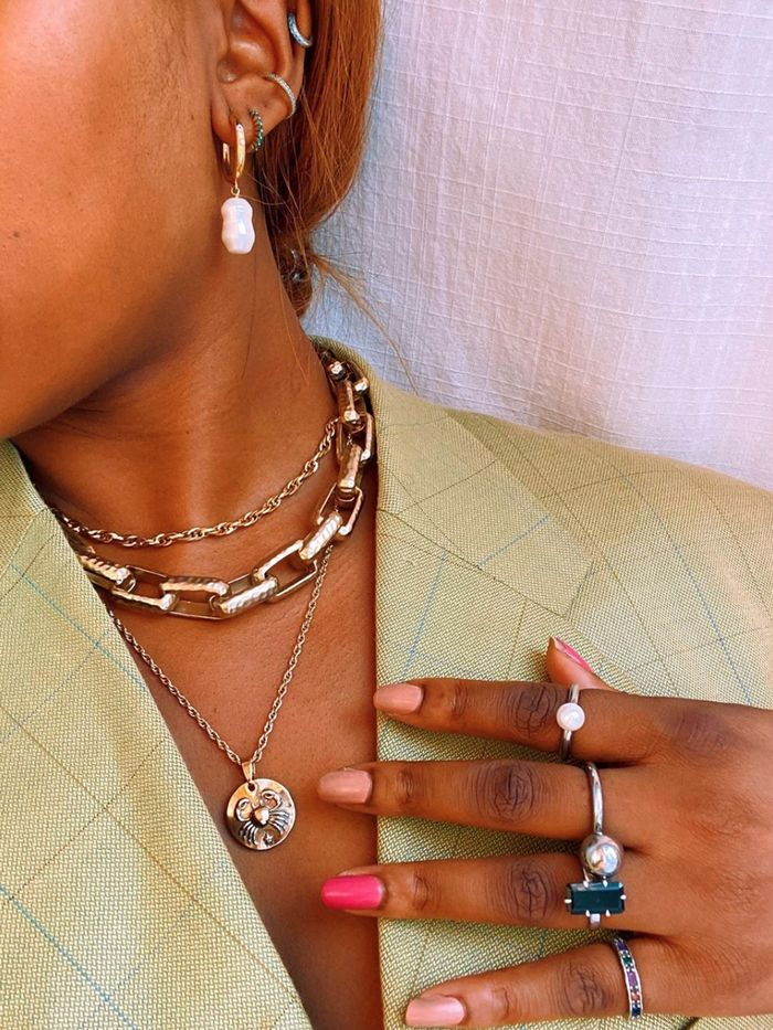 Black glass beads ring with Amber Promo minimalist jewelry