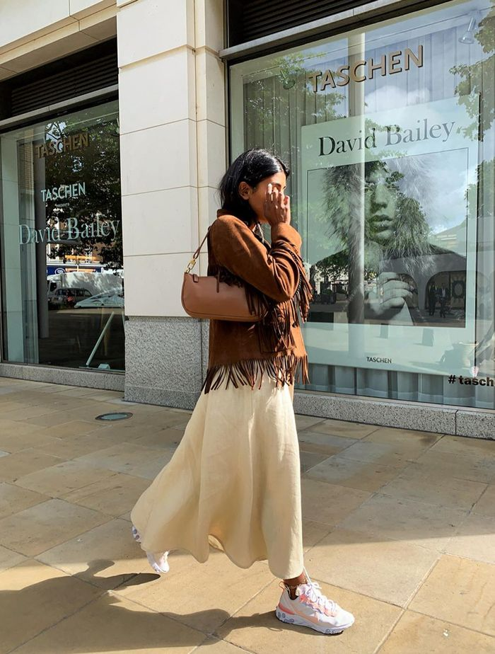 Jackets to Go With Dresses: Monikh wears tan suede and cream linen
