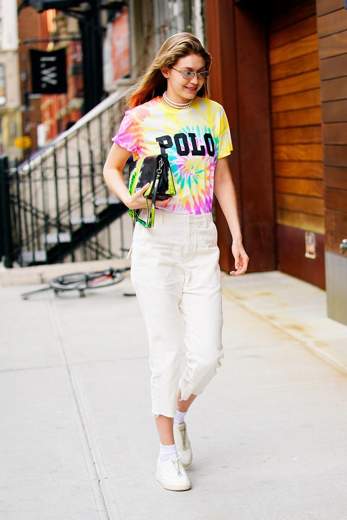 Gigi Hadid tie dye outfit