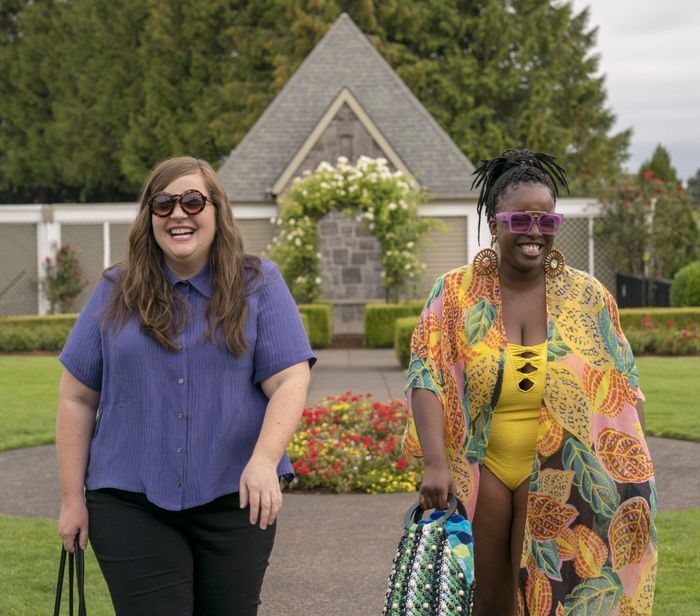 """Aidy Bryant and Lolly Adefope on the set of """"Shrill"""""""