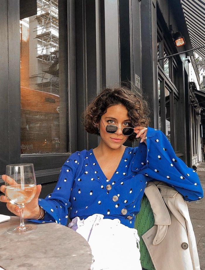 Miss Selfridge Best Fashion Items 2019: Angee Garcia in a blue Miss Selfridge top