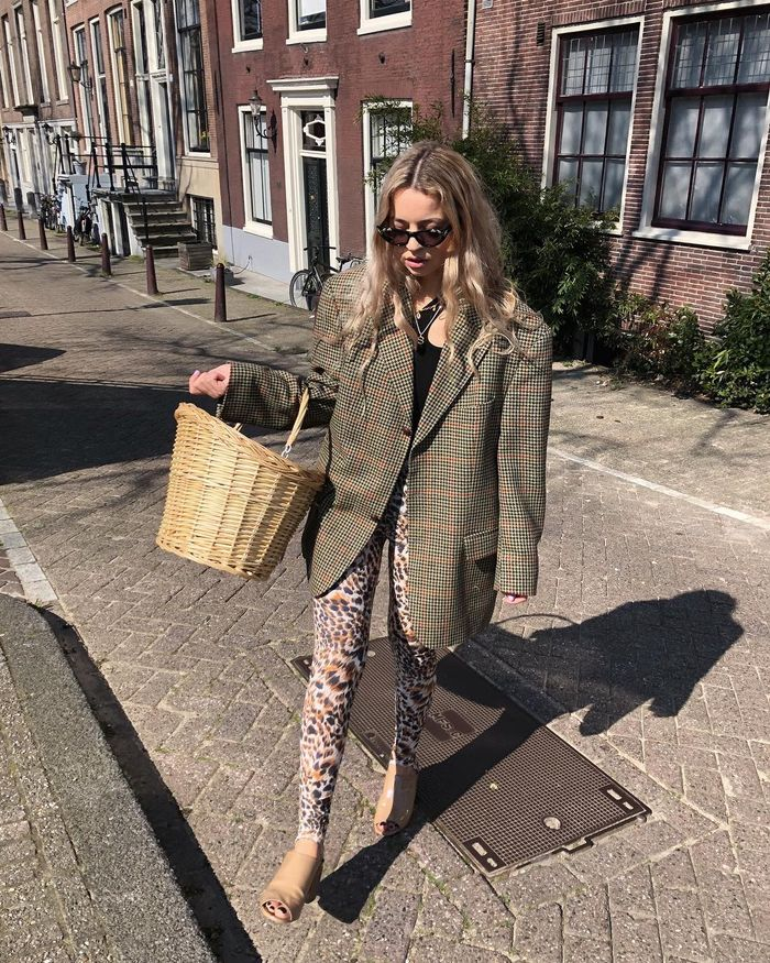 Stephanie Broek Scandi Skincare Routine: Stephanie Broek wearing blazer and leopard trousers
