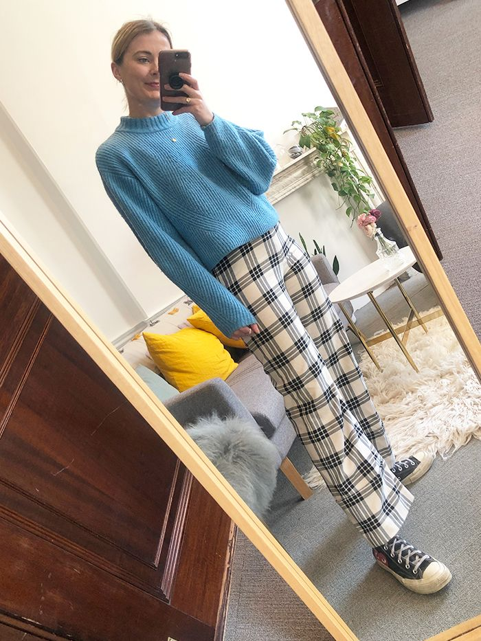 best hm trousers: Alyss In H&M Checkered Trousers