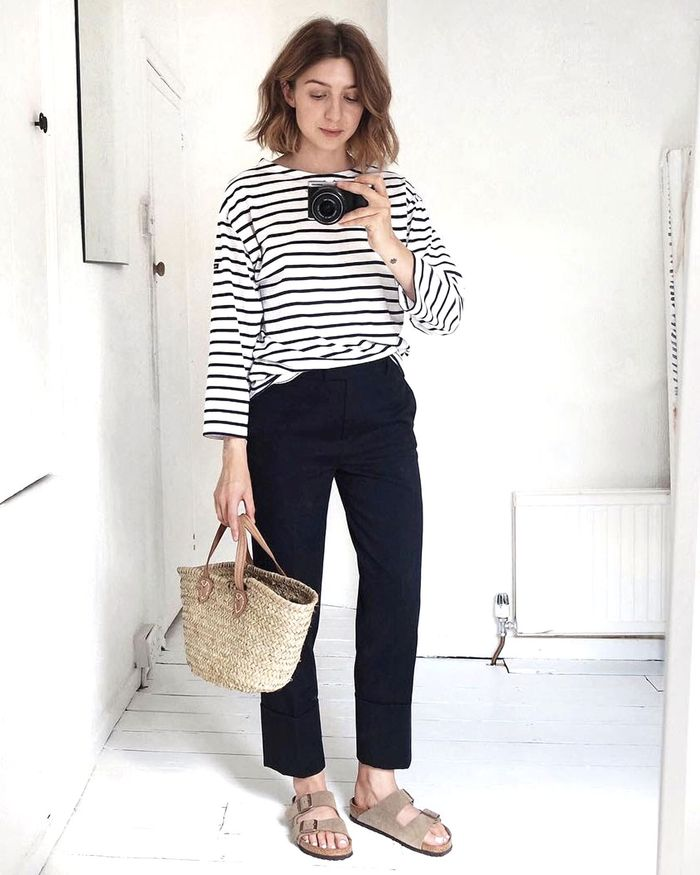 Best Birkenstock Sandals: Brittany Bathgate in Arizona Sandals and Stripe Top