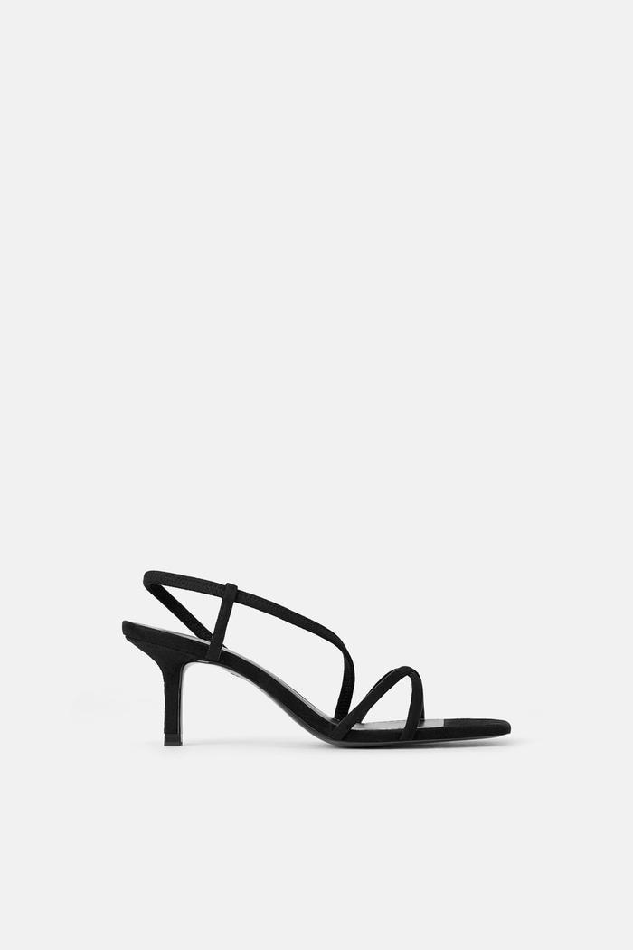 Zara Mid-Height Heeled Elastic Strap Sandals