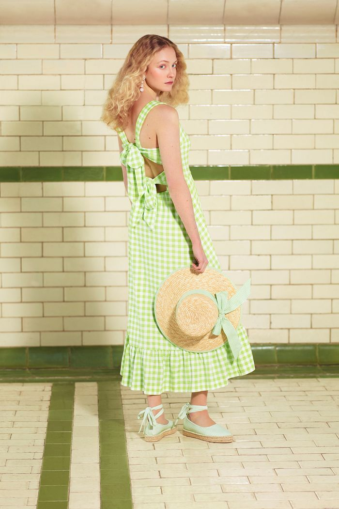 Warehouse x Shrimps: green gingham dress and bow straw hat