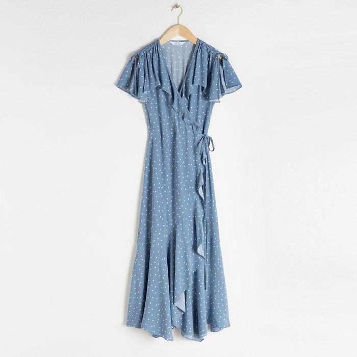 & Other Stories Polka Dot Handkerchief Wrap Midi Dress