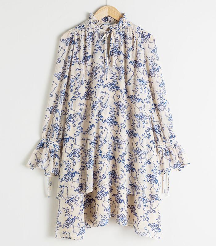 & Other Stories Ruffle Collar Cloud Print Mini Dress