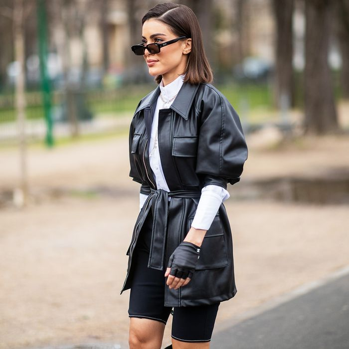 Bike Shorts and Utility Jacket Spring Trends Street Style