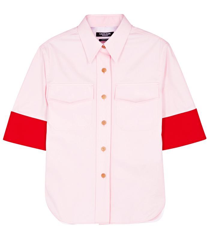 Calvin Klein 205W39NYC Two-Tone Cotton Twill Shirt