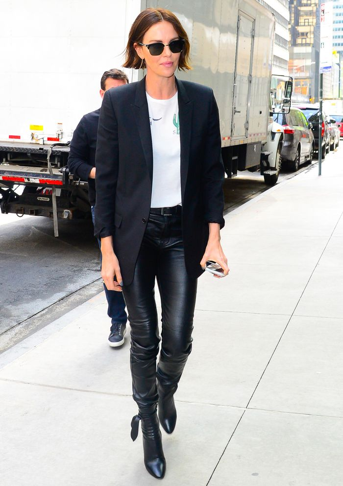 Skinny leather trousers: Charlize Theron