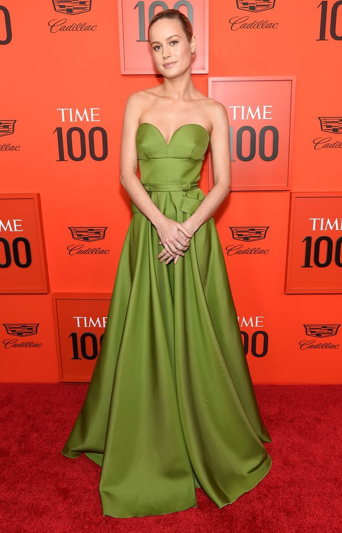 Brie Larson Style: Brie wears a custom Prada gown at the Time 100 Gala 2019