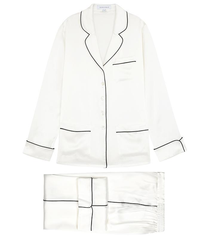 Olivia von Halle Coco White Silk Satin Pyjama Set