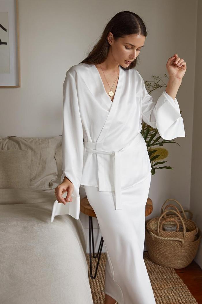 Best bridal nightwear: Sara Crampton in silk top
