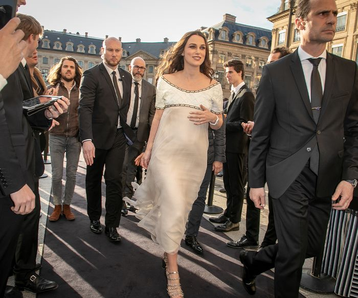 Keira Knightley second pregnancy baby bump wearing a Chanel dress in Paris