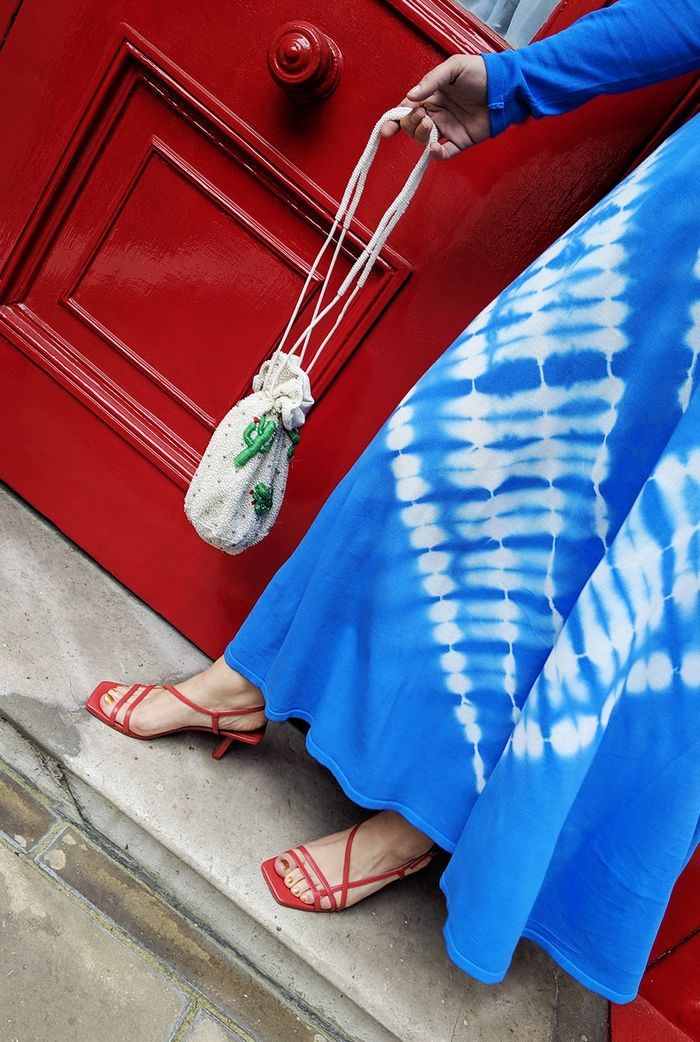 Zara tie dye knit dress in blue