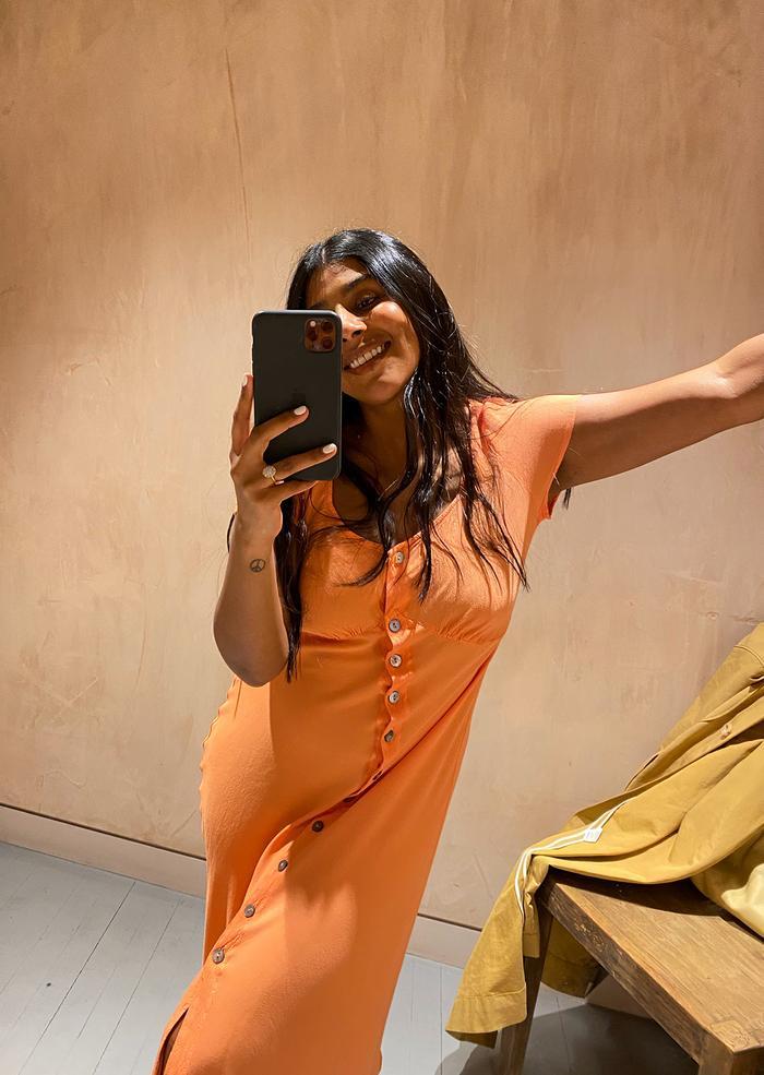 Monikh shopping picks: orange Ghost dress button down