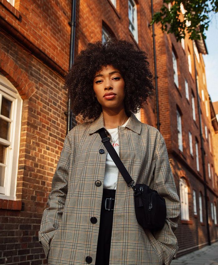 Best Superdrug Beauty Products: ASOS Lesley wearing checked coat
