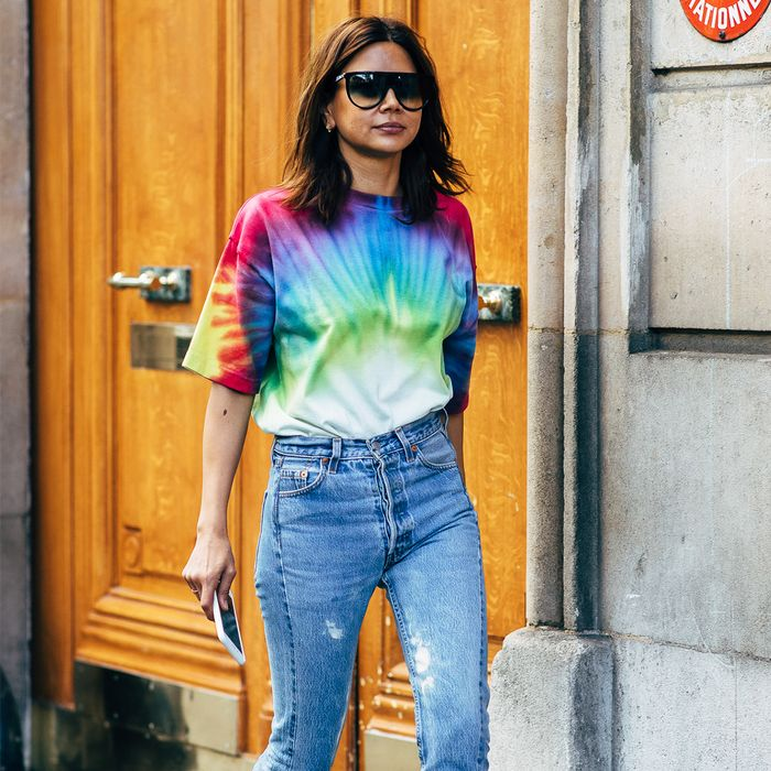 Tie-Dye T-Shirt and Jeans Street Style
