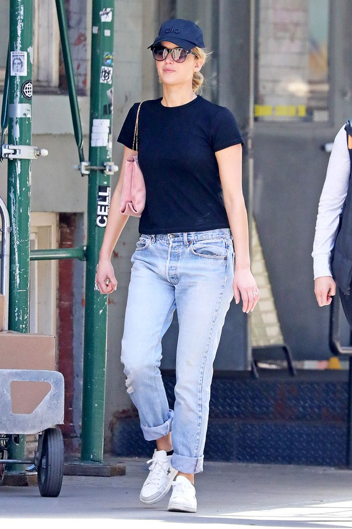Jennifer Lawrence in low-rise jeans