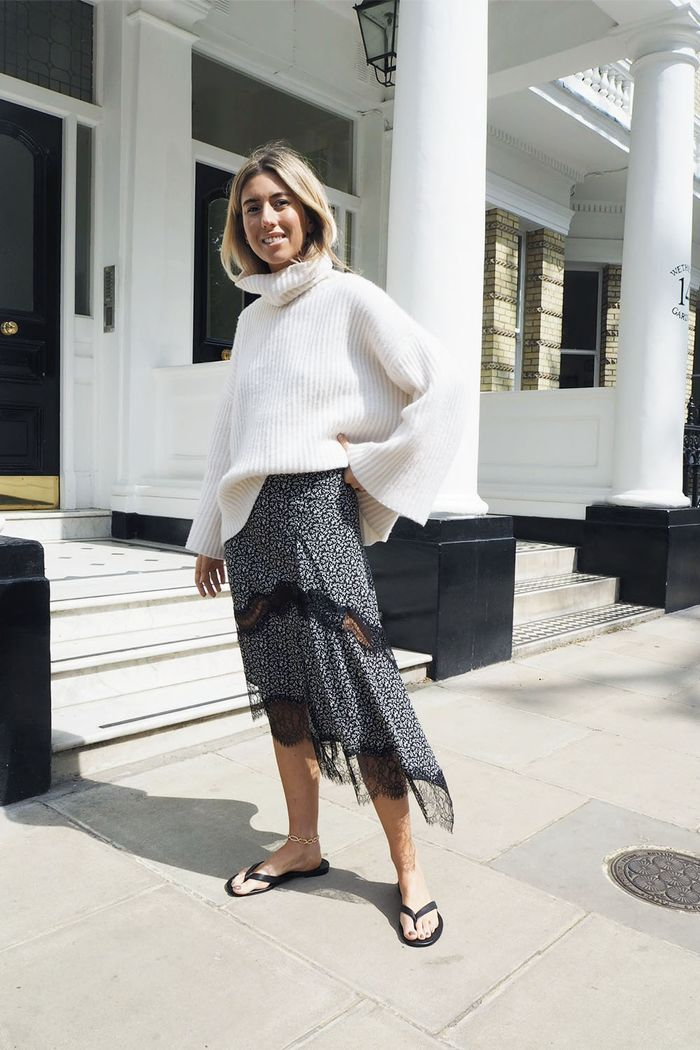 Midi Skirt Outfit Ideas 2019: Hannah Lewis Wears Joseph Midi Skirt
