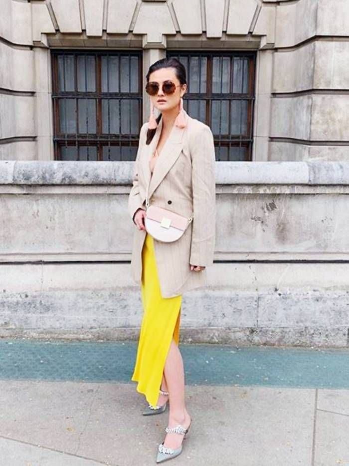 best dresses for christening: peony lim in a yellow dress and blazer