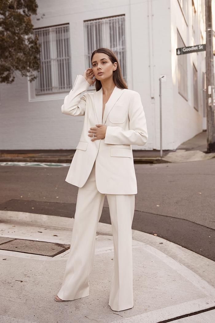 Joseph Capsule Wardrobe: Sara Crampton Wearing Joseph White Suit