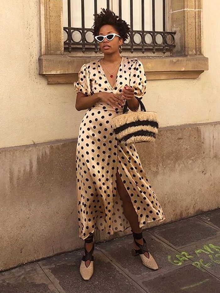best high-street polka dot dresses: Slip into Style wearing a polka dot zara dress