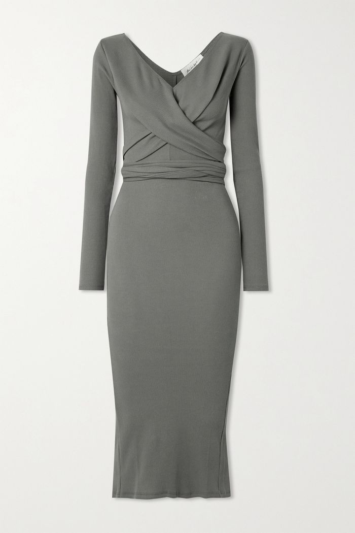 The Line by K Saloma Ii Wrap-Effect Ribbed Stretch-Cotton Jersey Midi Dress