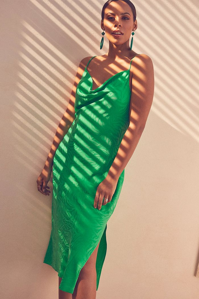 Rochelle Humes New Look edit: Green slip dress