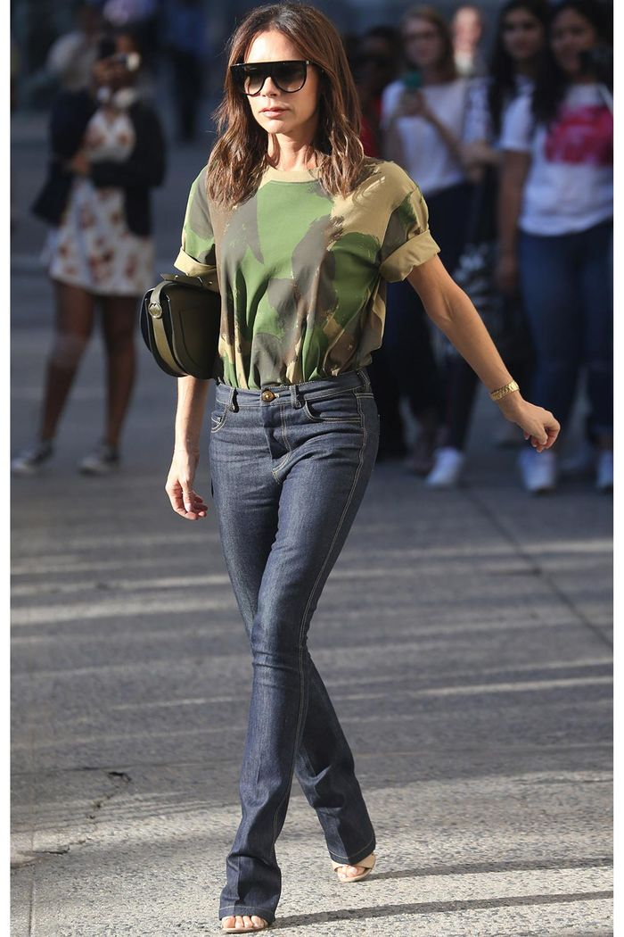 Victoria Beckham Camo Tee and Jeans