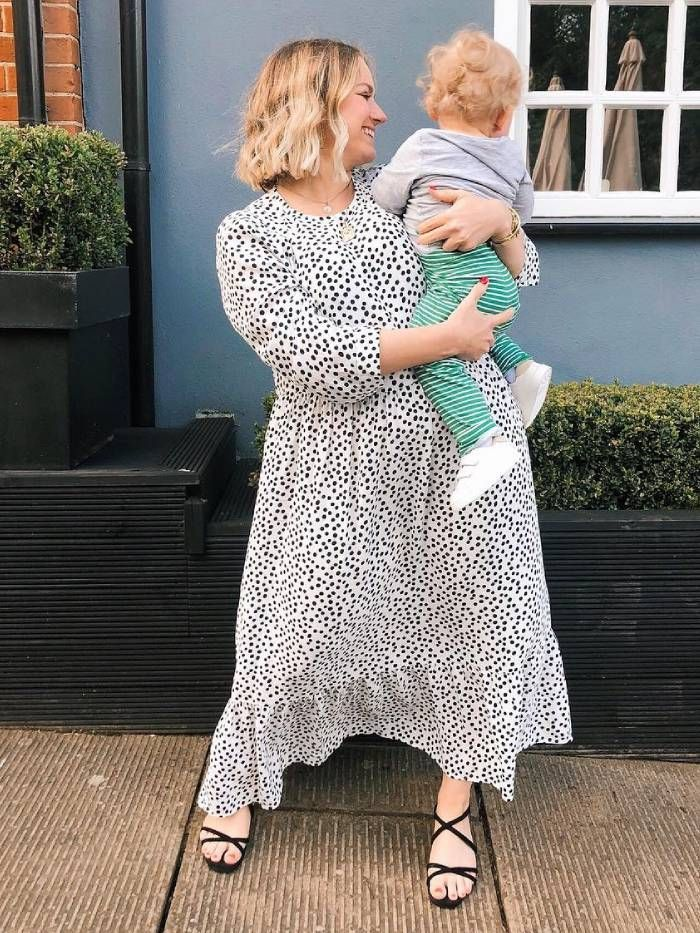 zara polka dot dress: hannah f gale wearing the dress